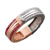 Кольцо Дуэт с бриллиантами и рубинами, красное и белое золото