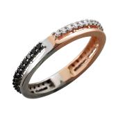 Кольцо Дуэт с чёрными и прозрачными бриллиантами, красное и белое золото