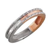Кольцо Дуэт с бриллиантами, красное и белое золото