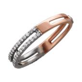 Кольцо с бриллиантами Дуэт, красное и белое золото