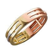 Кольцо Дуэт с бриллиантами, желтое и красное золото