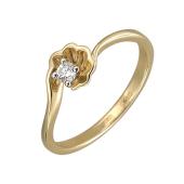 Кольцо Симфония с бриллиантом, желтое и белое золото