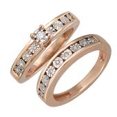 Кольцо двойное Дорожка с бриллиантами, красное и белое золото