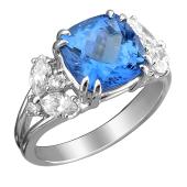 Кольцо с бриллиантом, сапфиром и танзанитом из белого золота 585 пробы