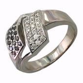 Кольцо с бриллиантами чёрными и прозрачными, белое золото 750 проба