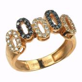 Кольцо с пятью овалами из бриллиантов, чёрные и прозрачные бриллианты, белое золото 750 проба