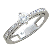 Кольцо для помолвки с бриллиантами, белое золото 750 проба