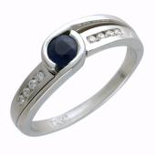 Кольцо с круглым сапфиром и дорожкой бриллиантов, белое золото