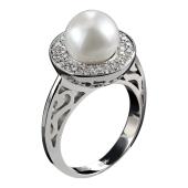 Кольцо с жемчугом и бриллиантами, белое золото 750 проба