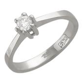 Кольцо с бриллиантом, белое золото 750 проба