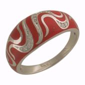 Кольцо Страсть с бриллиантами и красной эмалью, белое золото 750 проба