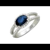 Кольцо Принцесса с сапфиром и бриллиантами, белое золото