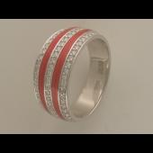 Кольцо Дорожка с эмалью и бриллиантами, белое золото