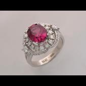 Кольцо с сапфиром (рубином) и бриллиантами, белое золото 750 проба