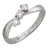 Кольцо с тремя бриллиантами, белое золото 750 проба