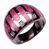 Кольцо с розовой эмалью и бриллиантами в квадратных лунках, белое золото 750 проба