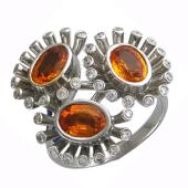 Кольцо Анемоны с фантазийными сапфирами, бриллиантами и эмалью, белое золото 750 проба