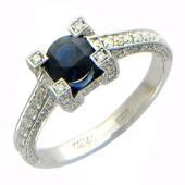 Кольцо с круглым сапфиром и бриллиантами, белое золото 750 проба
