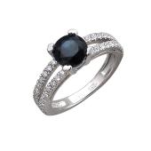 Кольцо с сапфиром и бриллиантами, белое золото 750 пробы