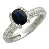 Кольцо с сапфиром и бриллиантами, белое золото