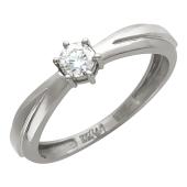 Кольцо с одним бриллиантом, белое золото 750 проба
