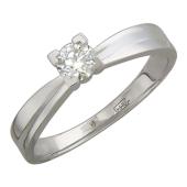 Кольцо с одним бриллиантом в четырех квадратных скобах, белое золото 750 проба