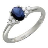 Кольцо с бриллиантами и сапфиром (рубином), белое золото 750 пробы