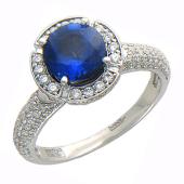 Кольцо с сапфиром, шинка покрыта бриллиантами, белое золото 750 пробы