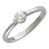 Кольцо с бриллиантом, белое золото 750 пробы