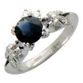 Кольцо Цветы с бриллиантами и круглым сапфиром, белое золото 750 проба