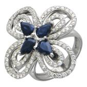Кольцо Цветок с бриллиантами и сапфирами, белое золото 750 проба