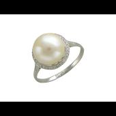 Кольцо с большой жемчужиной и бриллиантами, белое золото 750 проба