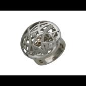 Кольцо со шляпкой с бриллиантами, белое золото 750 проба