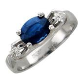 Кольцо с овальным сапфиром (рубином) и бриллиантами, белое золото 750 проба