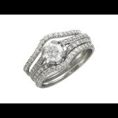 Кольцо с бриллиантами, белое золото 750 пробы