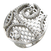 Кольцо с бриллиантами, белое золото 750 проба