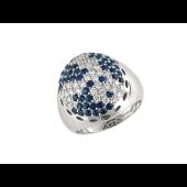 Кольцо с бриллиантами и сапфирами, белое золото 750 проба