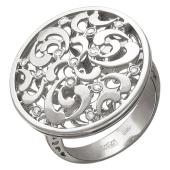 Кольцо с широкой шинкой, окружность с узорами и бриллиантами, белое золото 750 проба