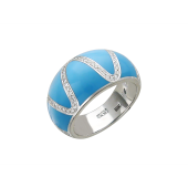 Кольцо широкое с дорожкой бриллиантов и голубой эмалью, белое золото 750 проба