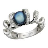 Кольцо с бриллиантами и черным жемчугом, белое золото 750 проба