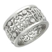 Кольцо широкое с бриллиантами, белое золото