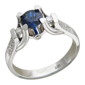 Кольцо с рубином (турмалином) в держателях-сердцах и бриллиантами, белое золото 750 проба