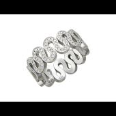 Кольцо Змейка с бриллиантами, белое золото 750 проба