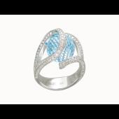 Кольцо с топазом шар и бриллиантами, белое золото 750 проба