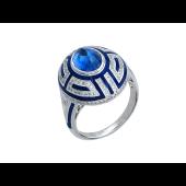 Кольцо Гармония с сапфиром, синей эмалью и бриллиантами, белое золото 750 проба