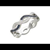 Кольцо Бесконечность с бриллиантами и сапфирами, белое золото