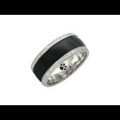 Кольцо с чёрным агатом и бриллиантами, белое золото