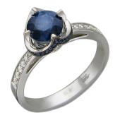 Кольцо с рубином (сапфиром) и бриллиантами, белое золото 750 проба