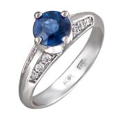 Кольцо с круглым сапфиром и бриллиантами, белое золото