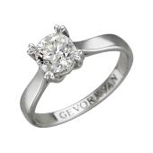 Кольцо Солитер с бриллиантом, белое золото 750 пробы